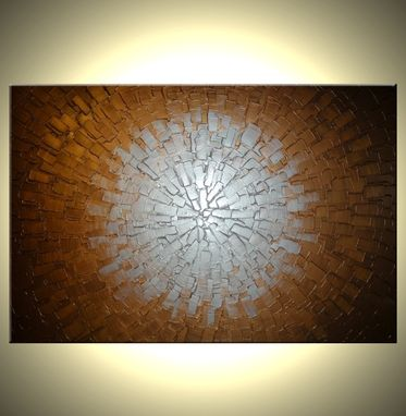 Custom Made Abstract Original Painting, Metallic Silver, Bronze Textured Art By Lafferty - 24 X 36