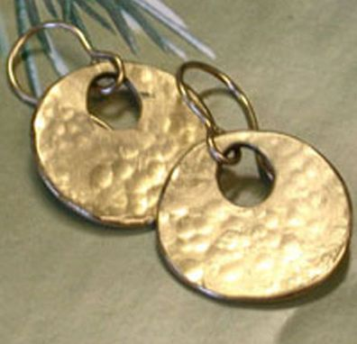 Custom Made Solid 14k Gold Hammered Disk Earrings