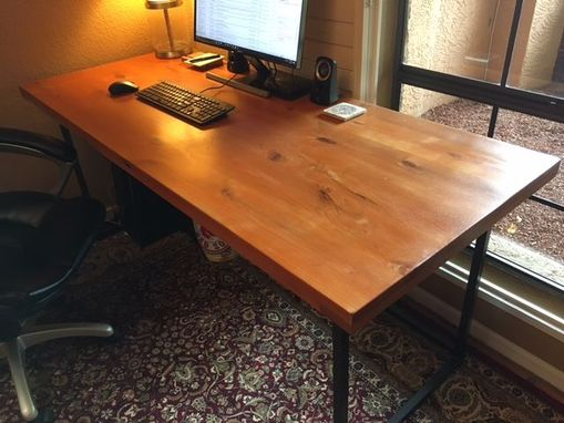 Custom Made Reclaimed Wood Desk With Industrial Steel Leg System.