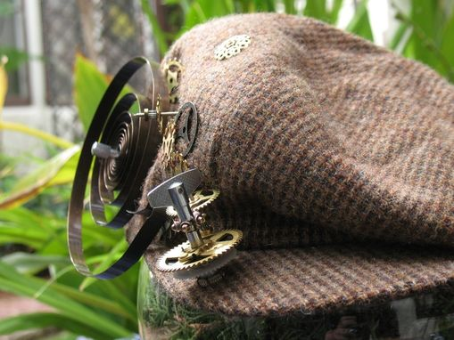 Custom Made Hat: Newsboy Style With Steampunk Accessories