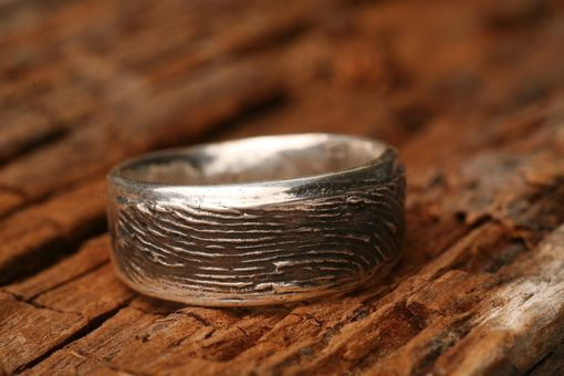 Custom Made Sterling Silver Women's Or Mens Wedding Fingerprint Ring