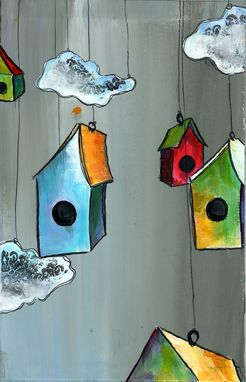 Custom Made Floating Village- Bird Houses Tied To The Gray Sky - White Menacing Clouds Floating