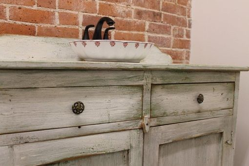 Custom Made Custom Painted Bathroom Vanity From Reclaimed Barn Wood