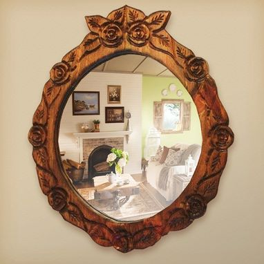 Custom Made Small Round Mirror, Carved With Roses