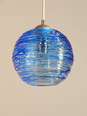 Custom Made Cerulean Blue Spun Hand Blown Glass Cluster Pendant Hanging Light By Rebecca Zhukov