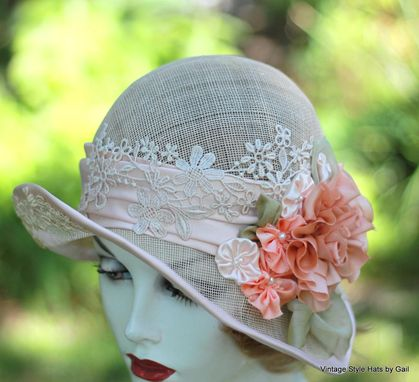 Custom Made Shabby Chic Vintage Hat 1920'S Wedding Tea Party Summer