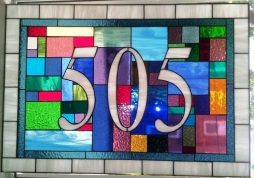 "Custom Made Stained Glass Address Marker - ""Bright Patchwork"" (Am-180)"