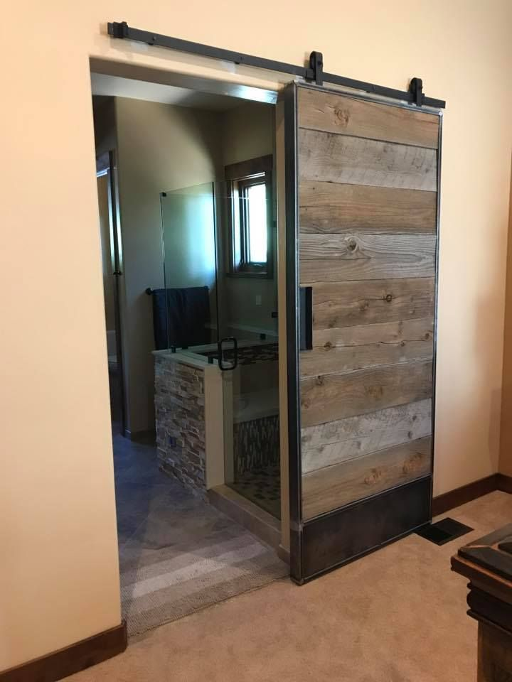 Custom Sliding Steel Barn Door With Reclaimed Wood Inlay By Steel It