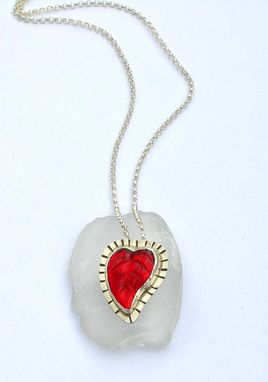 Custom Made Red Heart Leaf Pendant, Vintage Czech Glass Pendant, Handmade Artisan Glass Pendant
