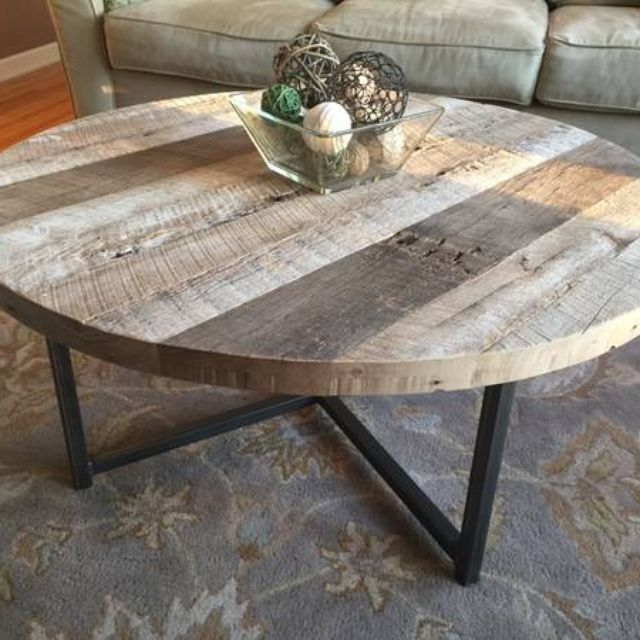 A Hand Made Round Reclaimed Wood Table With Metal Base To Order From Ore Dock Design Custommade