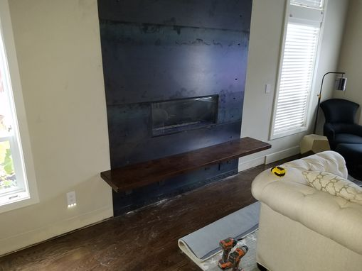 Custom Made Steel Cladded Fireplace With Walnut Bench