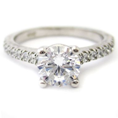 Custom Made Round Cut Diamond Engaegment Ring & Matching Wedding Band R180
