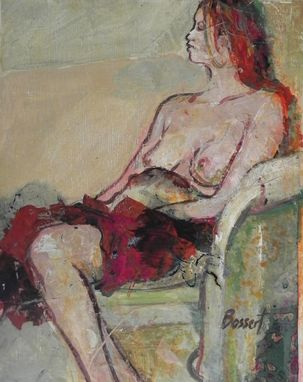 Custom Made Red Cloth, Acrylic Painting, Figurative