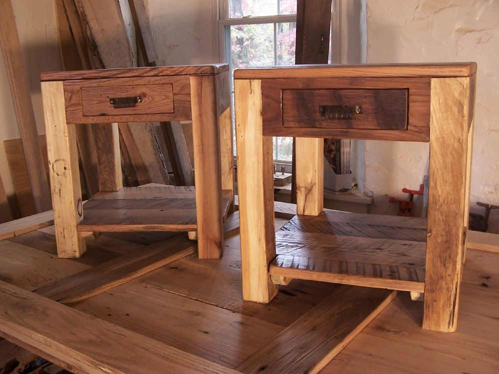 Custom Made Rustic Parsons Style End Tables With Drawer Shelf And Vintage Pulls