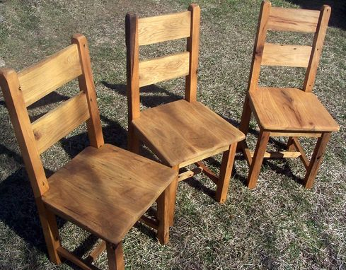 Custom Made Reclaimed Antique Oak Farmhouse Dining Chairs