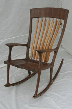 Custom Made Walnut/Zebrawood Tall Person Rocker - Shipping Included