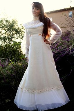 Custom Made Vintage 60s Wedding Dress In Chiffon Empire Babydoll With Lace Floral Embroidery And Bows S M