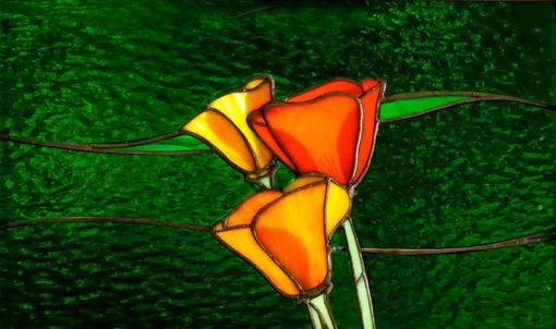 "Custom Made ""California Poppies,"" An Art-Glass Window Panel"
