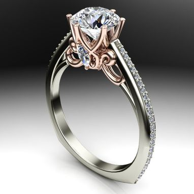 Custom Made Two Tone Diamond Trellis Designed Engagement Ring