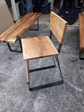 Custom Made Solid Spalted Pecan And Cherry Bar Stool