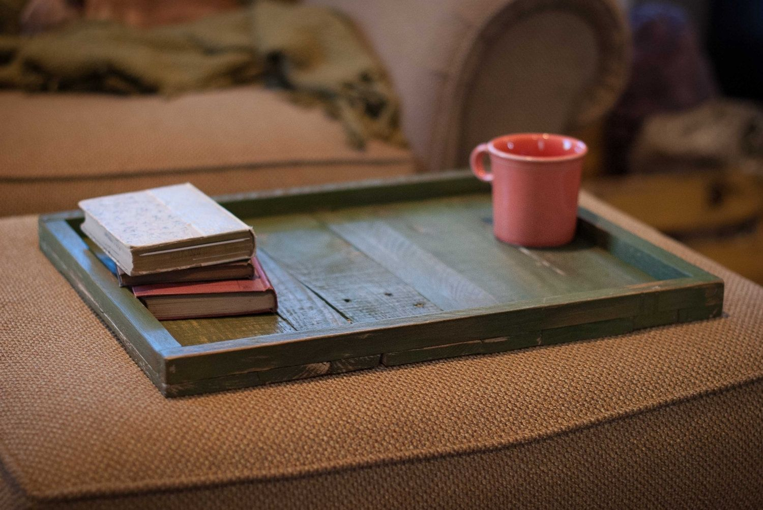 Hand made reclaimed wood ottoman tray by reformed