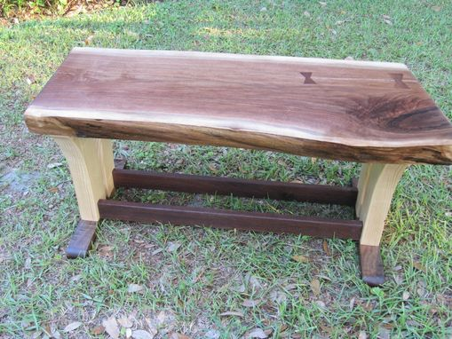 Custom Made Walnut Natural Edge Table, Walnut Natural Edge Bench