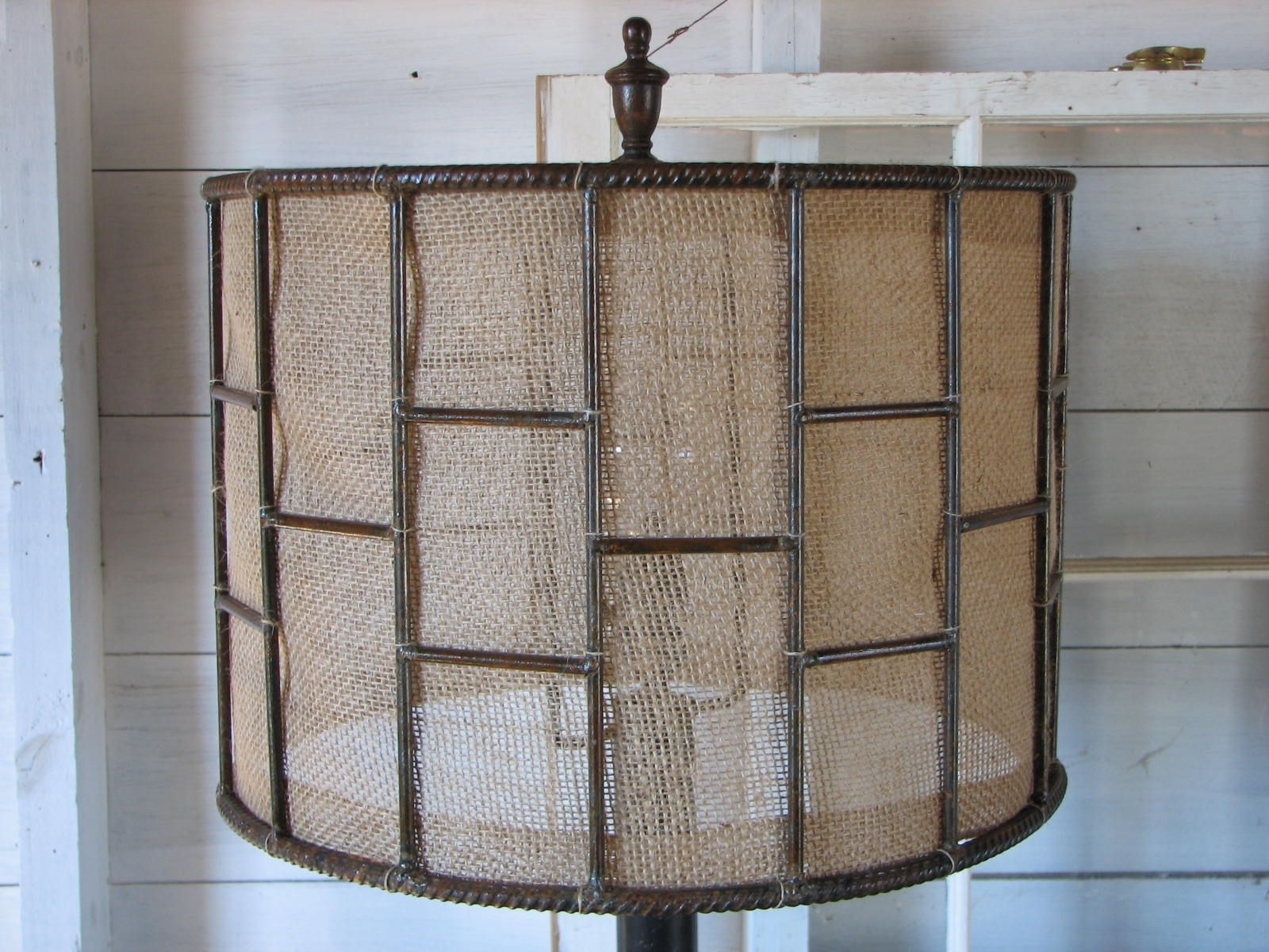 Hand crafted industrial metal table lamp with burlap shade by custom made industrial metal table lamp with burlap shade mozeypictures Choice Image