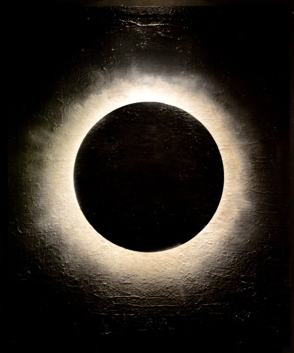 Hand Made Eclipse Large Acrylic Abstract Painting By Fq