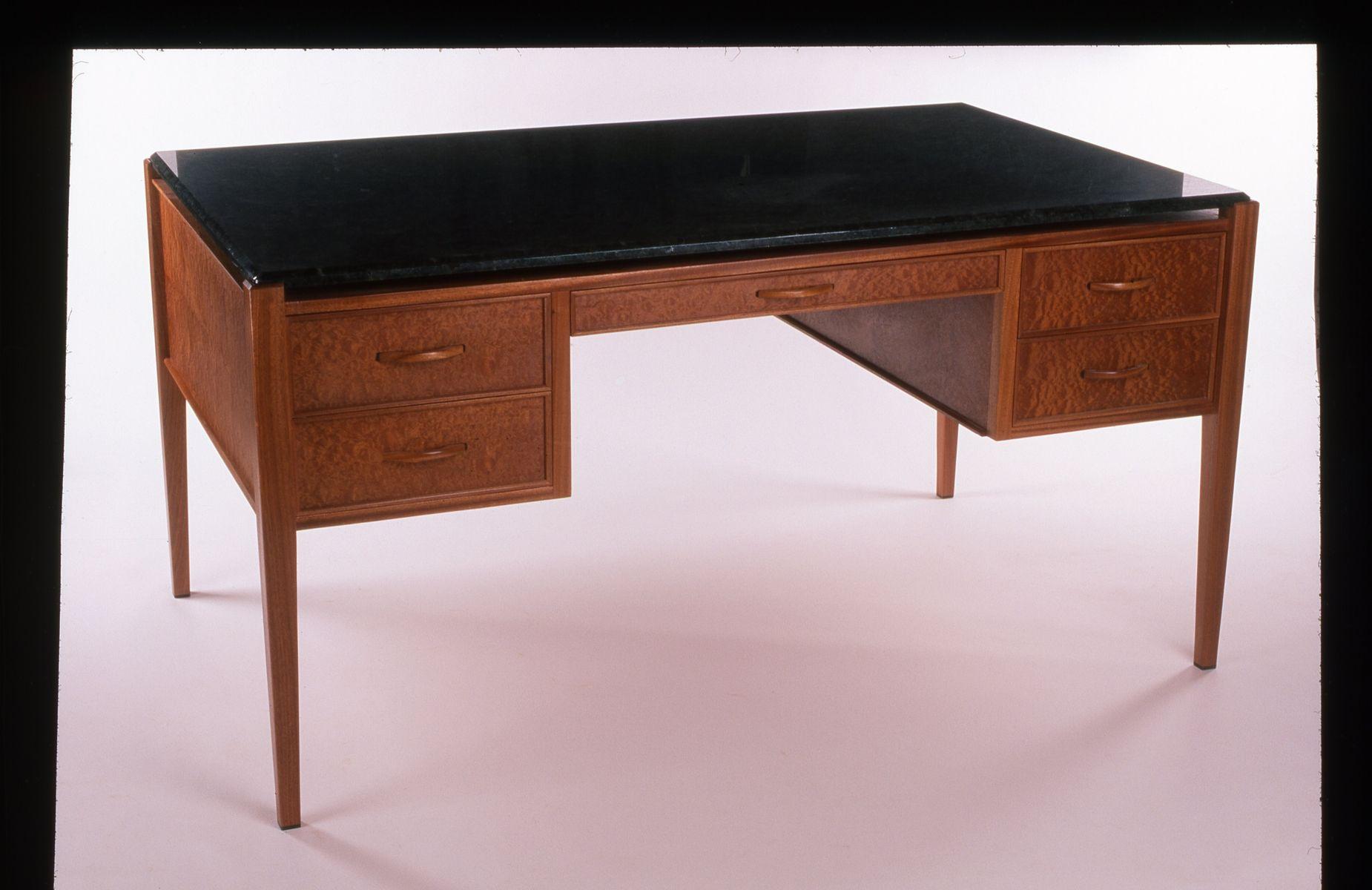 Custom Made Sapele Desk With Granite Top