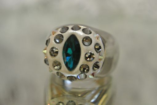 Custom Made Silver Ring With Blue Oval And Round Swarovski Crystals