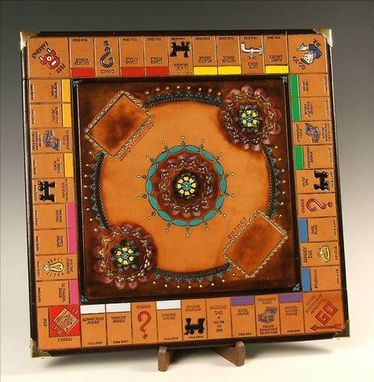 Custom Made Monopoly Board With Tooling, Leather