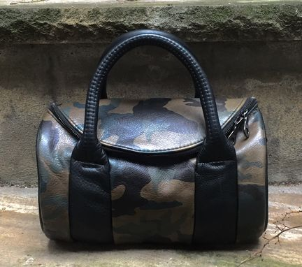 Custom Made Round Leather Barrel Bag In Your Choice Of Leathers - Handcrafted In New York