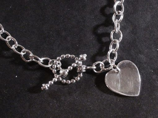 Custom Made Sterling Silver Tiffany Style Heart Toggle Chain Necklace