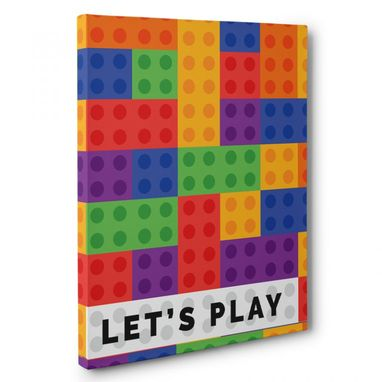 Custom Made Let'S Play Building Blocks Canvas Wall Art