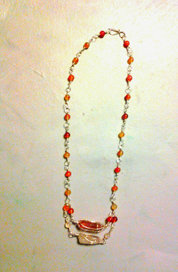 Custom Made Double Crystal  Wire  Wrap  Necklace