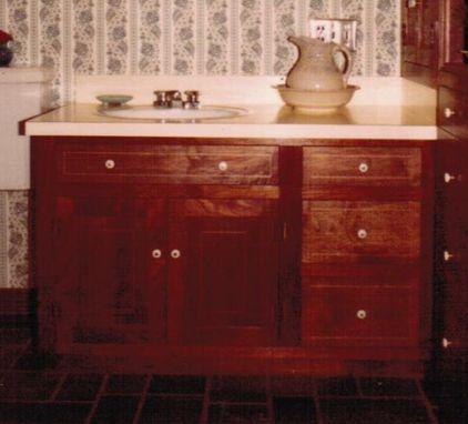 Custom Made Walnut Bathroom Sink Vanity With Built-In
