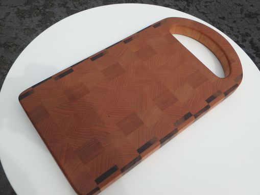 Custom Made Cherry And Walnut Endgrain Cutting Board With Handle