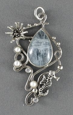 Custom Made Silver Seahorse Pendant With Aquamarine And Pearls