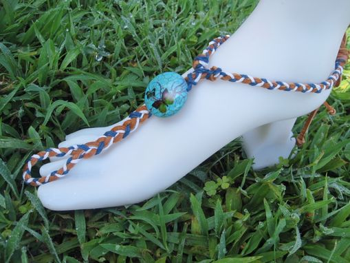 Custom Made Blue Butterfly Slave Anklet. Boho. Foot Jewelry. It Fits Shoe Sizes 9 And Up. Handmade.