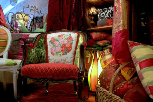 Custom Made Upholstered  Antique Bergere Chair , Decoupaged Armoire,