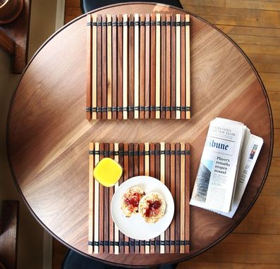Custom Made Salvaged Steel Ring Walnut Breakfast Table