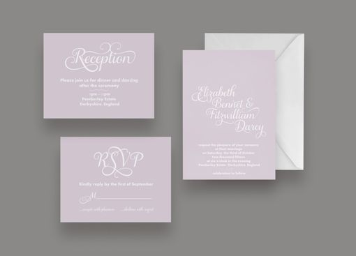 Custom Made Two Tone Wedding Invitation Suite -- Invite, Response Card + Reception Card