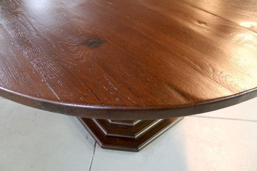 "Custom Made 60"" Round Dining Room Table With Custom Octagonal  Base"