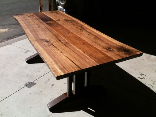 Custom Made Live Edge Walnut Dining Table - Tressel Legs