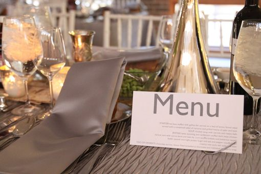Custom Made Reception Menu, Modern Dinner Wedding Menu, Personalized Wedding Table Setting