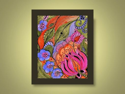 Custom Made Fine Art Print Lotus -Orange Pink Green Ink And Acrylic Painting