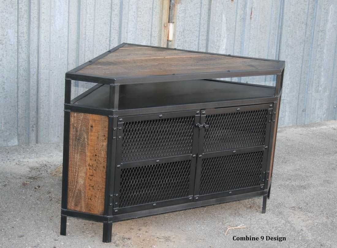 Buy A Custom Vintage Industrial Tv Stand Corner Unit Media Console