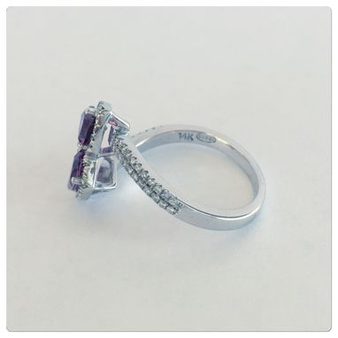 Custom Made Designer Jewelry 14k Women's White Gold Diamond With Tri Cut Pink Tourmaline 1.65ct