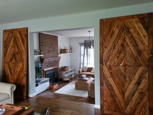 Hand Made Solid Reclaimed Wood Barn Doors Diamond Mosaic