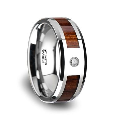 Custom Made Tungsten And Wood Diamond Band